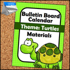 Turtle Themed Calendar Bulletin Board Materials for Primar
