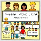Tweens Holding Signs - Clip Art