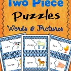 Two Piece Puzzles Matching Pictures With Words