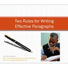 Two Rules for Writing Effective Paragraphs