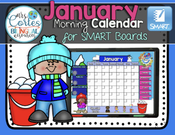 UPDATED!! SMARTBOARD Calendar Math-January  (English)