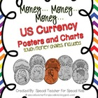 US Money Classroom Visuals with Points to Touch (Rainbow Chevron)