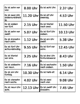 Uhrzeit (Time in German) Dominoes