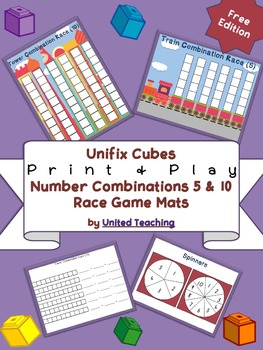 Unifix Cubes Print & Play Number Combinations 5 & 10 Race Game Mats