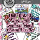 Unit 1 Sight Word and Spelling Word Crowns Bundle