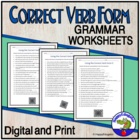 Using the Correct Verb Form Worksheet