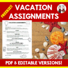 FREE Vacation assignments for students to do when absent