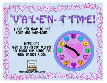 Valentime! Telling Time to the Hour, Half-Hour & Quarter-Hour
