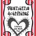 Valentine Activities {Literacy and Math Activities}