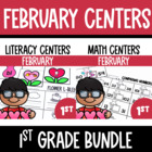 Valentine Center Fun- Math and Literacy Bundled Common Cor