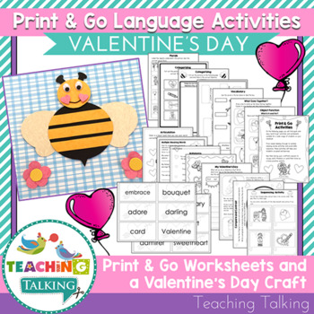 Valentine Craftivity & Worksheets (especially for SLPs!)