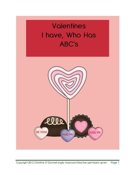 Valentine I have, Who has ABC's Freebie