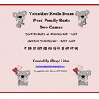 Valentine Koala Bear Word Family Sorts