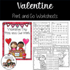 Valentine Print and Go: No Prep, Common Core