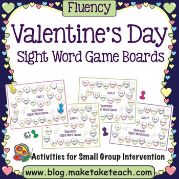 Valentine's Day Sight Word Game Boards