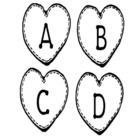 Valentine Theme Heart-Shaped Alphabet Letters & Some Extras