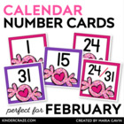 Valentine Treats Theme Calendar Numbers