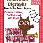 Valentines Consonant Digraphs Center Games Task Cards & In