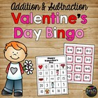Valentine's Day Addition and Subtraction Math Bingo, First Grade