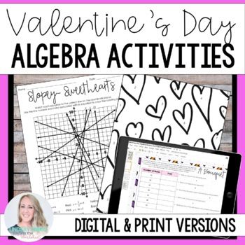 Valentine's Day Algebra Activity and Coloring Worksheet