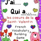 Valentine's Day Color Hearts Vocabulary Game -- J'ai... Qu