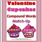 Valentine's Day Cupcakes Compound Words Matching Activity