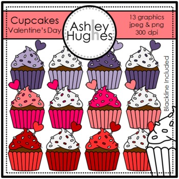 Valentine's Day Cupcakes {Graphics for Commercial Use}