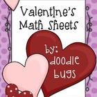 Valentine's Day Math Practice Review Sheets