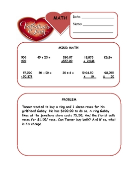 Valentine's Day Math Warm Up