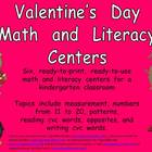 Valentine's Day Math and Literacy Centers- Kindergarten
