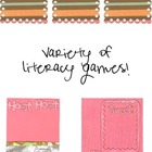 Variety of Literacy Activities Black and White Version