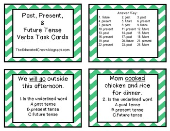 Verb Tense (Past, Present, Future) Task Cards
