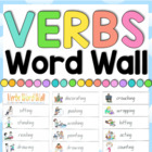 Verbs Picture Aides Word Wall - Literacy/Grammar/Writing -