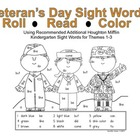 Veteran's Day Kindergarten Sight Word Roll and Color