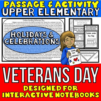 Veterans Day Passage and Activity for INTERACTIVE NOTEBOOKS