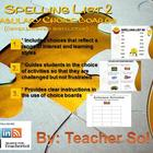 Vocabulary Choice Boards (Spelling List #2) RFS4.3