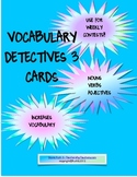 Vocabulary Detectives Task Cards 3 Nouns, Verbs, Adjectives