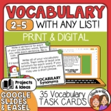 Vocabulary Task Cards: 35 Activity Cards for Any List!