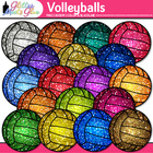 Volleyballs Dipped in Glitter Clipart - Celebrate School S