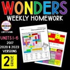 Reading WONDERS 2nd Grade Spelling/Vocabulary Homework Act