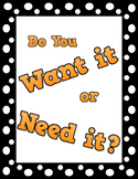 Wants vs. Needs Economics File Folder Activity