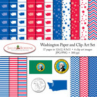 Washington Clip Art and Digital Paper with Flag, Seal, Qua