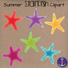 Watercolor Starfish Digital Clip Art- Bright Summer Colors