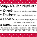 Ways We Use Numbers Anchor Chart