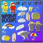 Weather Doodles Digital Clip Art combo (BW & Color PNG files)