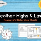 Weather Highs and Lows - Student Reference Sheets