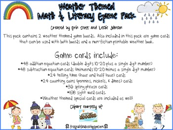 Weather Themed Math and Literacy Game Pack