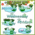 Weekday Frogs Clip Art