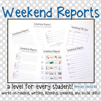 http://www.teacherspayteachers.com/Product/Weekend-Reports-for-Special-Education-Students-413319