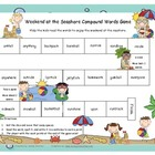 Weekend at the Seashore Compound Word Literacy Station Gam